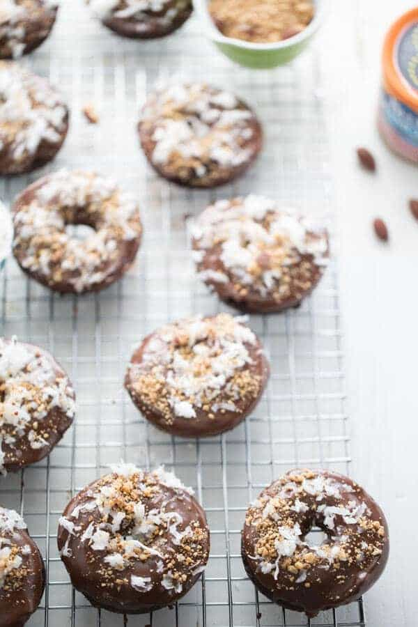 Almond Coconut donuts have lots of chocolate, sweet coconut and crunchy almonds! lemonsforlulu.com