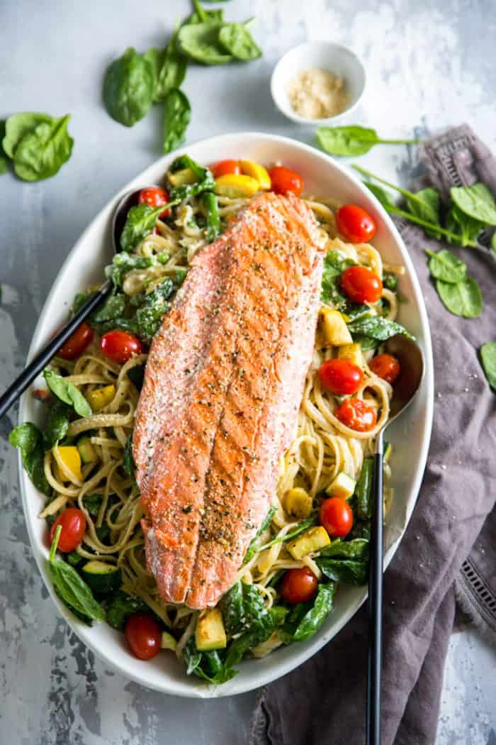 Pasta Primavera with salmon and placed on a platter