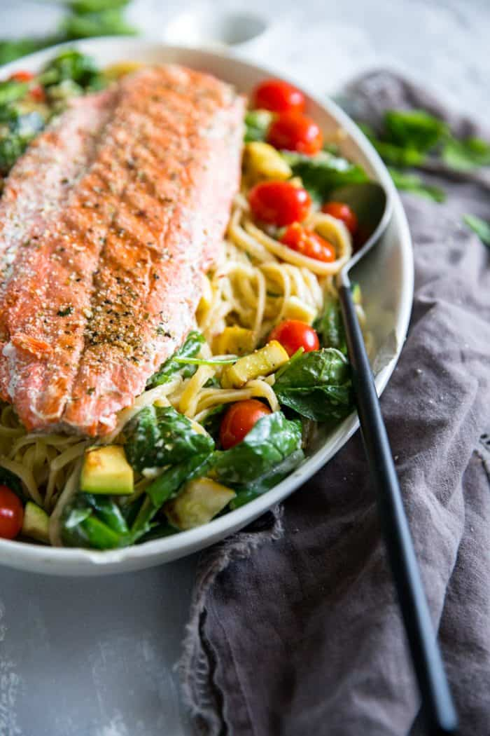 Pasta Primavera salmon on top