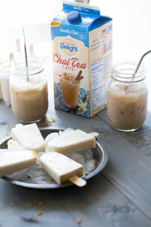 Easy gelato is turned into refreshingly simple Chai Tea Latte Popsicles! lemonsforlulu.com #IDelightInChai
