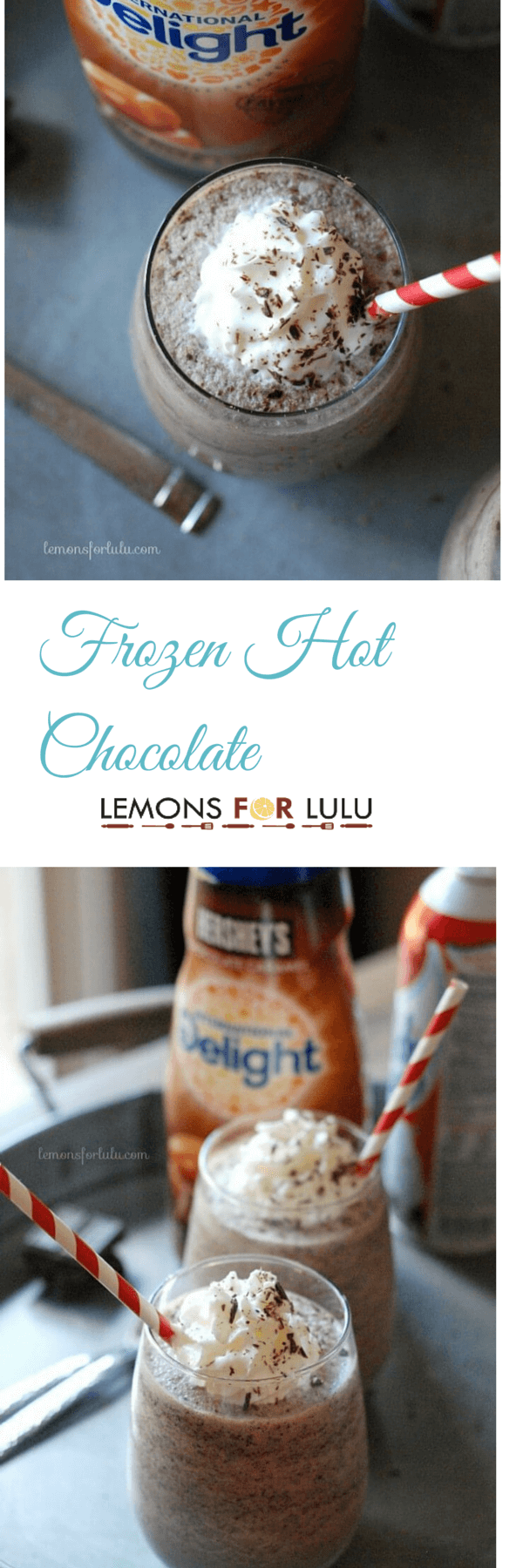 Easy frozen hot chocolate is positively addicting! Only a handful of ingredients are required to make this cool and creamy iced treat! lemonsforlulu.com