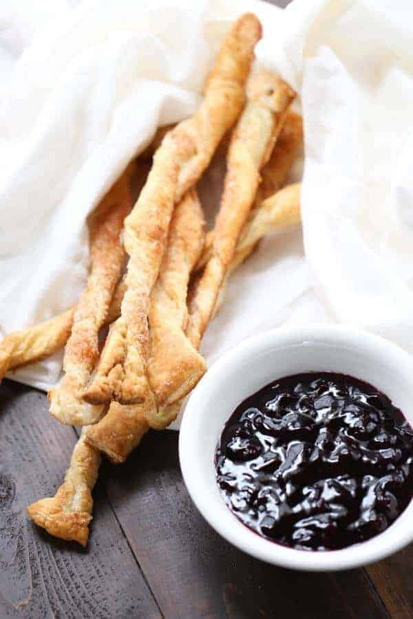Lemon scented puff pastry with a simple blueberry sauce! lemonsforlulu.com
