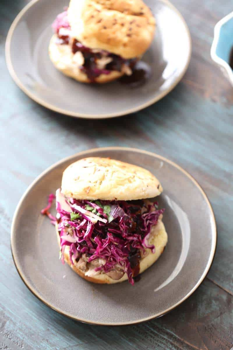 Pulled pork with a distinctly Asian taste. Ginger infused sauce, a crips slaw and spicy mayo will make this pork bbq sandwich taste out of this world! lemonsforlulu.com
