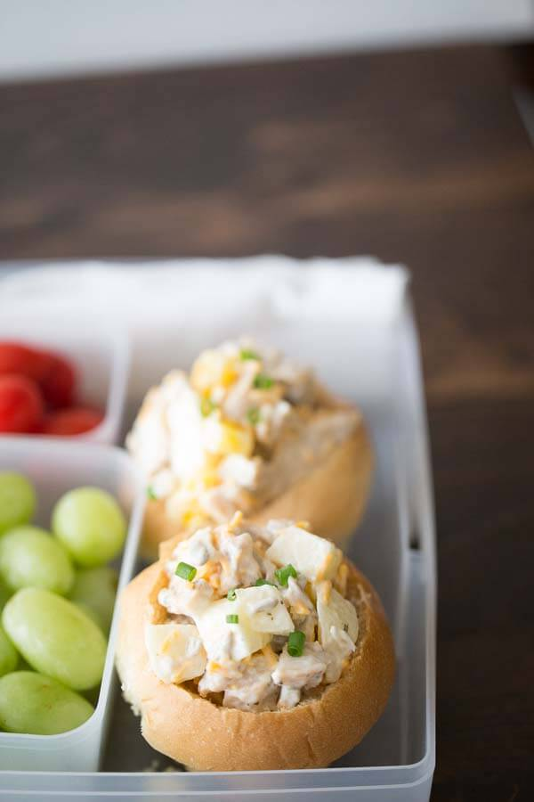 Easy chicken salad rolls make any lunch better! This salad is filled with apples, nuts, peppers, and cheese. Ranch dressing adds a lot of flavor to each bite! lemonsforlulu.com