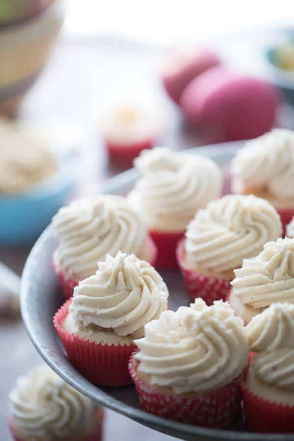 Eight Apple Pie Cupcakes on an iron platter.