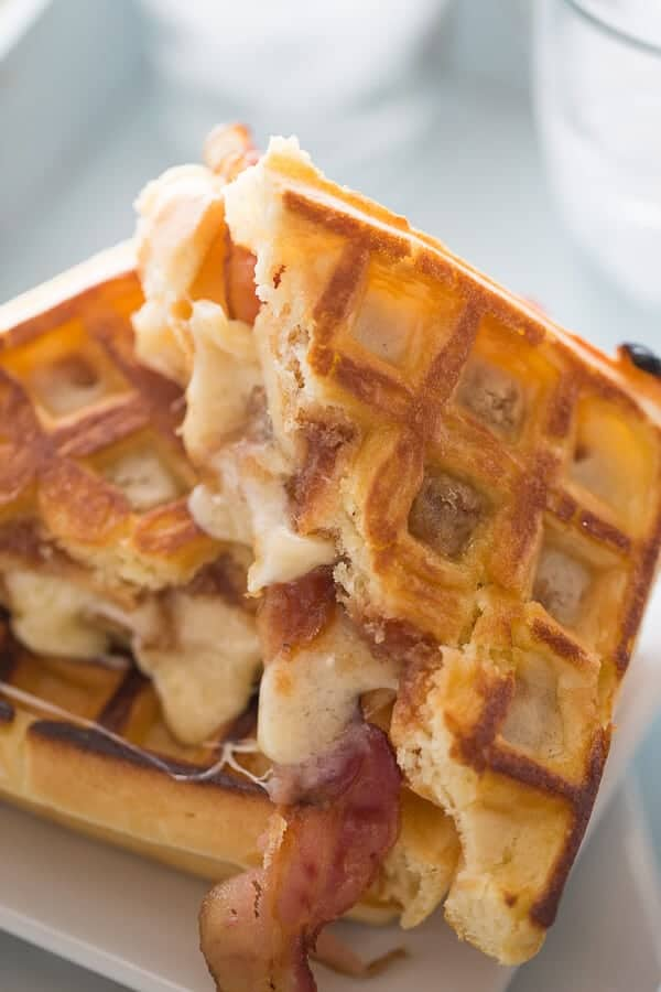 A grilled sanwich made with waffles instead! This waffle sandwich is the perfect blend of savory and sweet! lemonsforlulu.com