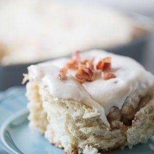 Homemade bacon cinnamon rolls with a sweet maple frosting. lemonsforlulu.com