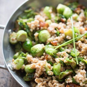 A perfect recipe for Brussels sprouts! This side has Brussels sprouts, bacon, farro and a honey mustard dressing! lemonsforlulu.com