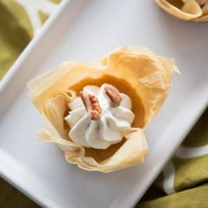 Flakey fillo dough surrounds a simple sweet potato pie recipe! lemonsforlulu.com