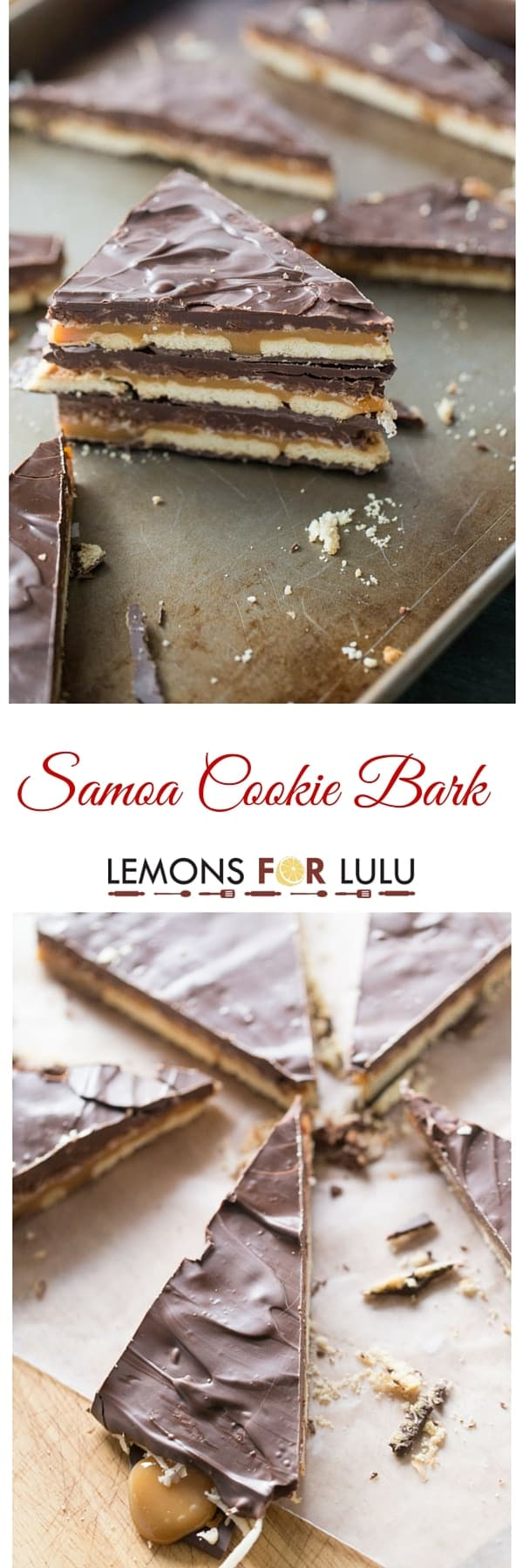Samoa cookies are the inspiration behind this easy bark recipe! Layers of chocolate, shortbread cookies, caramel and toasted coconut come together in this simple recipe. These simple dessert makes an excellent gift from the kitchen! lemonsforlulu.com