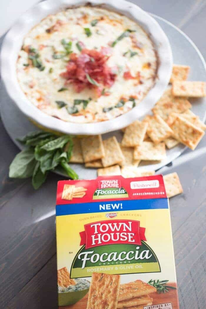 Hot bruschetta dip with cheese, tomatoes and soppressata! lemonsforlulu.com