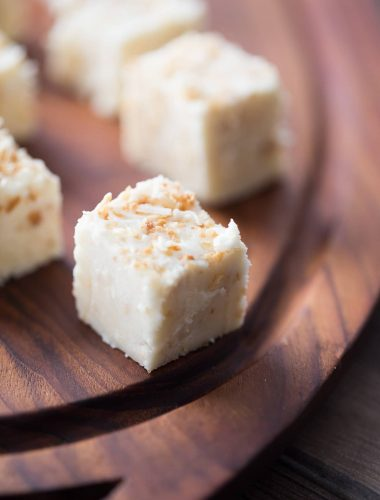 Easy white chocolate fudge with lots of toasted coconut! lemonsforlulu.com