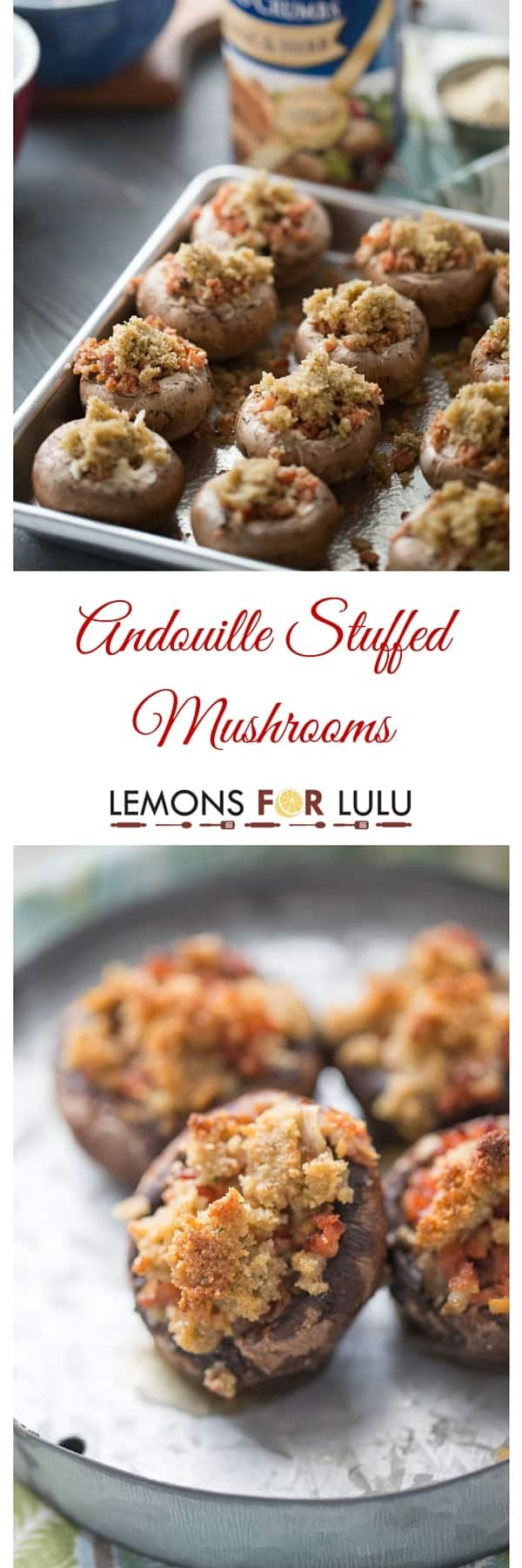 This easy stuffed mushroom recipe is easy and quick! Andouille sausage, veggies and cheese fill mushrooms caps then get topped with a buttery breadcrumb topping! This is party food at it's best! lemonsforlulu.com