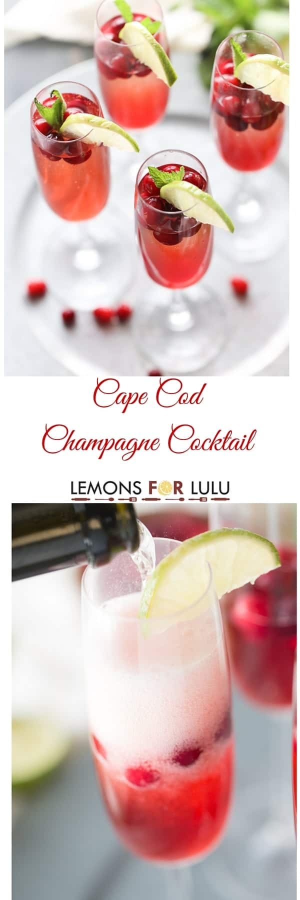 Festive champagne cocktails don't get more delicious than this Cape Cod champagne cocktail. lemonsforlulu.com