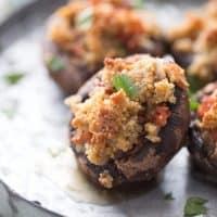 Easy stuffed mushroom recipe with andouille sausage! lemonsforlulu.com