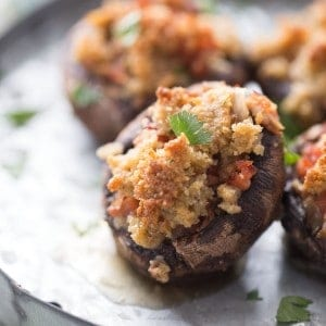 Easy stuffed mushroom recipe with andouille sausage! lemonsforlulu.com