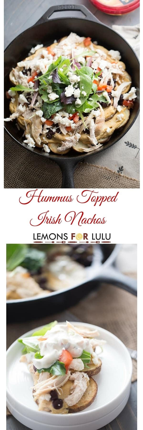 Crispy baked potatoes give this game day snack and Irish twist, but the hummus, chicken and veggies turns this easy snack into something extraordinary! lemonsforlulu.com