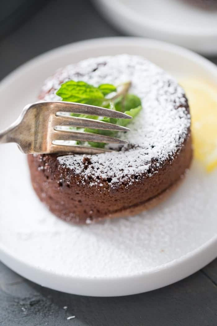 This is such a simple molten chocolate lava cake recipe! It's soft and tender on the outside but fudgy in the mint and has just a hint of lemon!