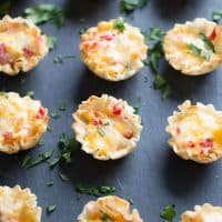 Homemade pimento cheese tucked inside little fillo cups! Perfect little finger foods!