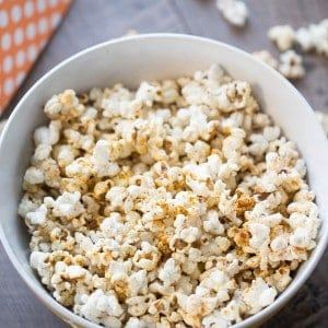 Homemade kettle corn recipe served with a sprinkling of bbq seasoning!