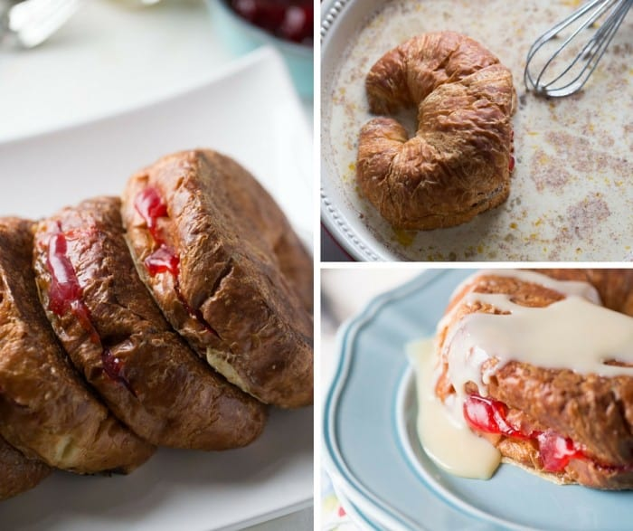 Croissant French toast recipe where each flakey croissant is stuffed with a sweet strawberry pie filling. Whether you call it breakfast or dessert, I call it delicious!