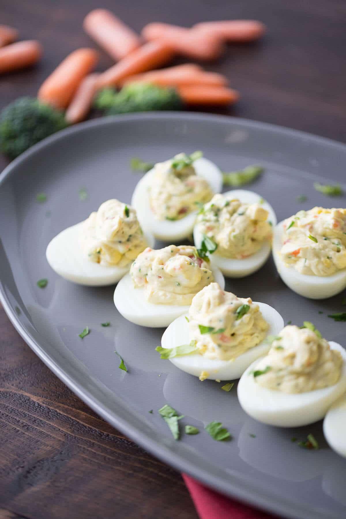 Simple Deviled Eggs with Garden Vegetables  LemonsforLulu.com