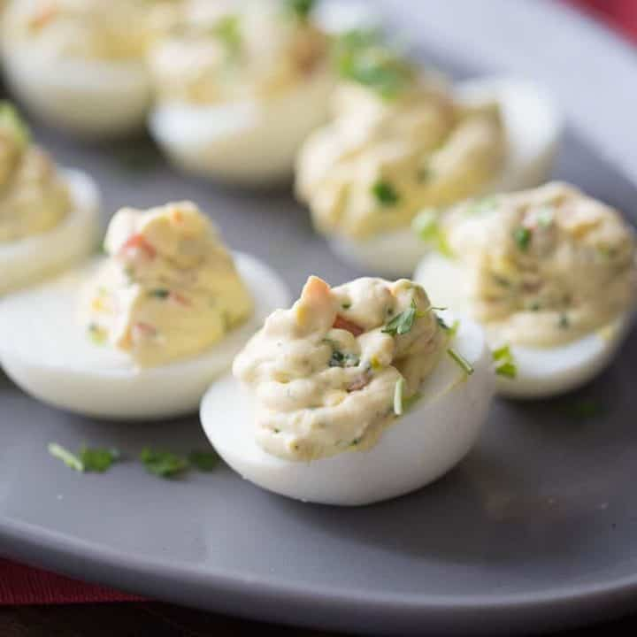 Simple Deviled Eggs with Garden Vegetables