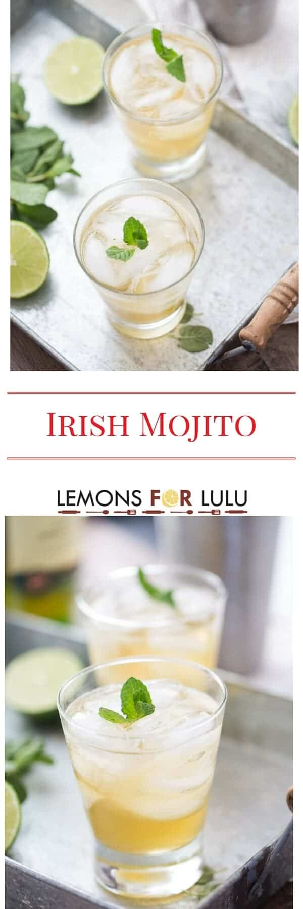 This cocktail takes you from Cuba to Ireland with each sip! This mint mojito recipe with simple syrup and Irish whiskey; a new classic cocktail!