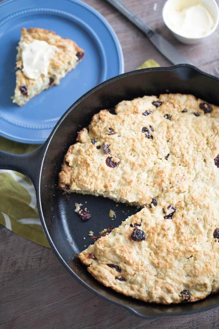 A simple skillet Irish soda bread recipe that lightly sweetened with dried cherries and real maple syrup!