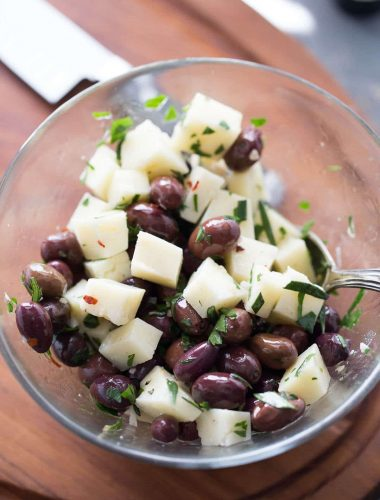 Manchego cheese is the perfect cheese for the spiced marinated Spanish olives in this easy appetizer recipe.