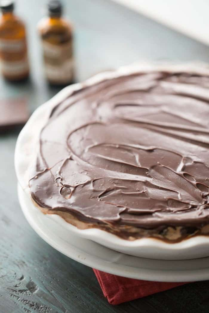 Love ice cream? This mocha coffee ice cream pie is all you need! Rich ice cream, caramel and chocolate ganache makes this pie an unforgettable dessert!