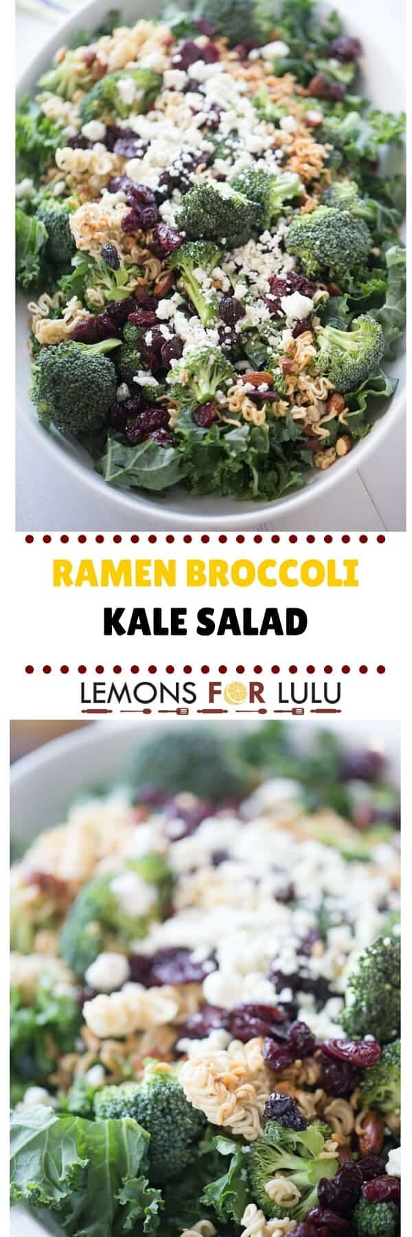 Ramen broccoli salad recipe with krispy kale, sweet cherries, almonds and blue cheese! This is the salad to end all ramen salads!