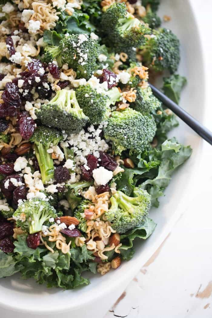 Broccoli ramen noodle salad with krispy kale, sweet cherries, almonds and blue cheese!