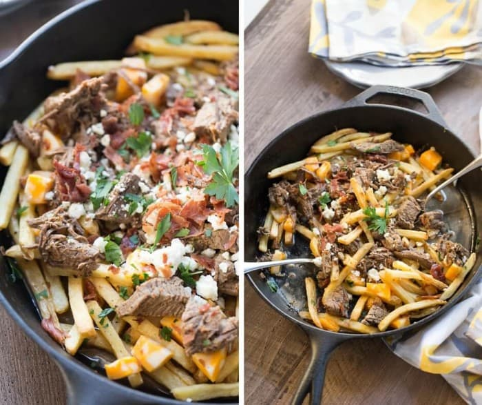 French fries have found the perfect partner in this poutine recipe! Crispy French fries are topped with slow cooked brisket, gravy, bacon and two kinds of cheese for a meal that is out of this world!
