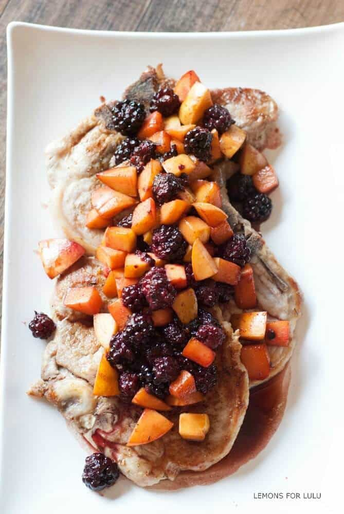 Pork with Blackberry Peach Sauce {Lemons for Lulu}