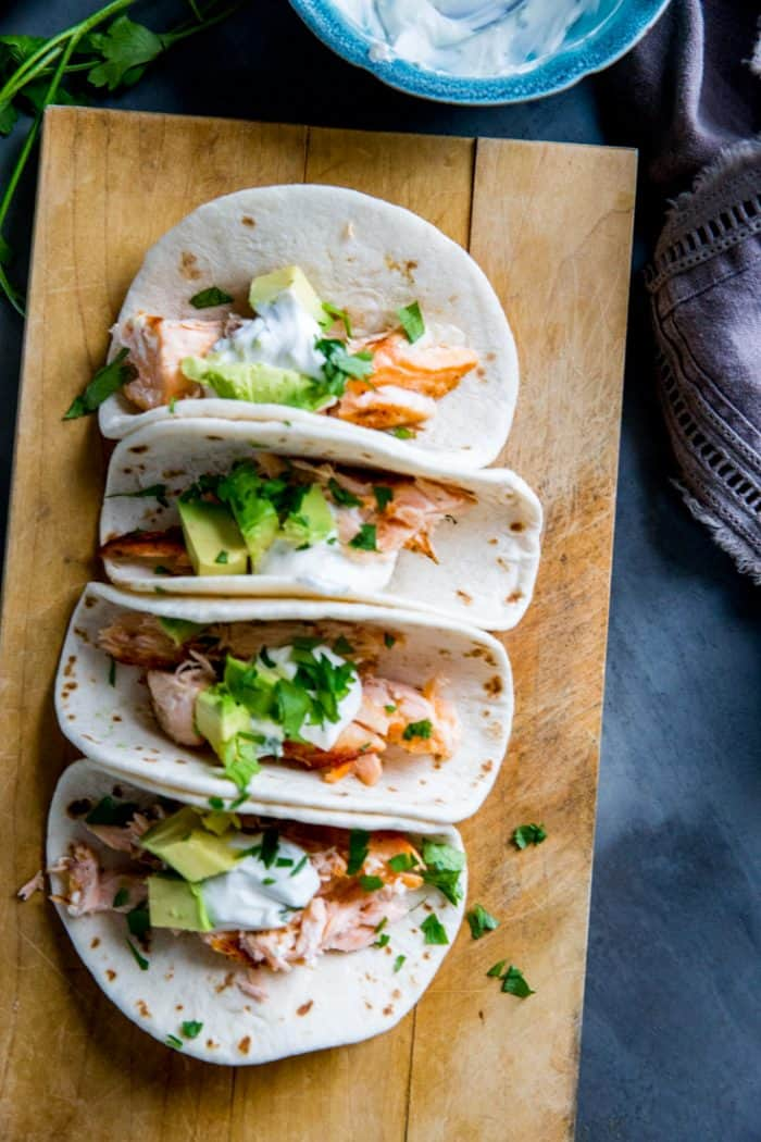topped grilled salmon tacos