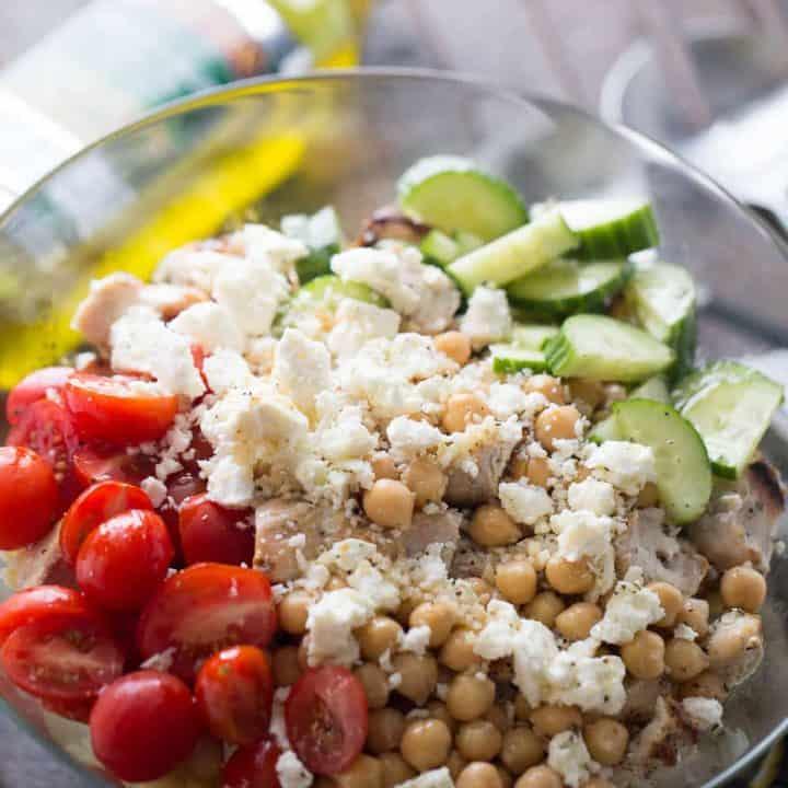 Chicken Souvlaki Pasta Salad