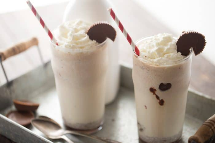 Moose tracks ice cream is the inspiration behind this rich and creamy milkshake. Vanilla ice cream, peanut butter, chocolate and peanut butter cups make this frosty treat taste out of this world!