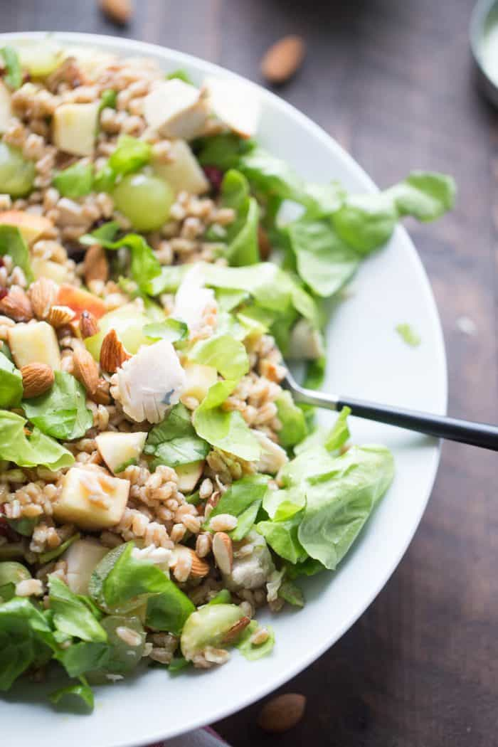 This Chicken Waldorf Salad is the ultimate in satisfaction! Farro, chicken, fruit and lettuce are tossed with a simple honey mustard vinaigrette. Waldorf salad gets a whole new look!