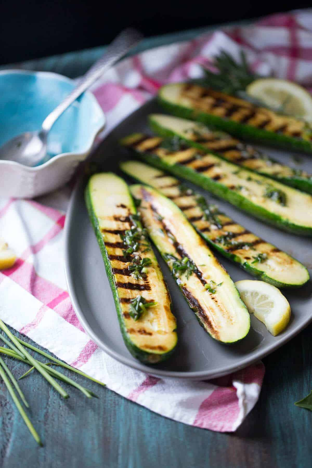 Herb Drizzled Grilled Zucchini {Lemons for Lulu}