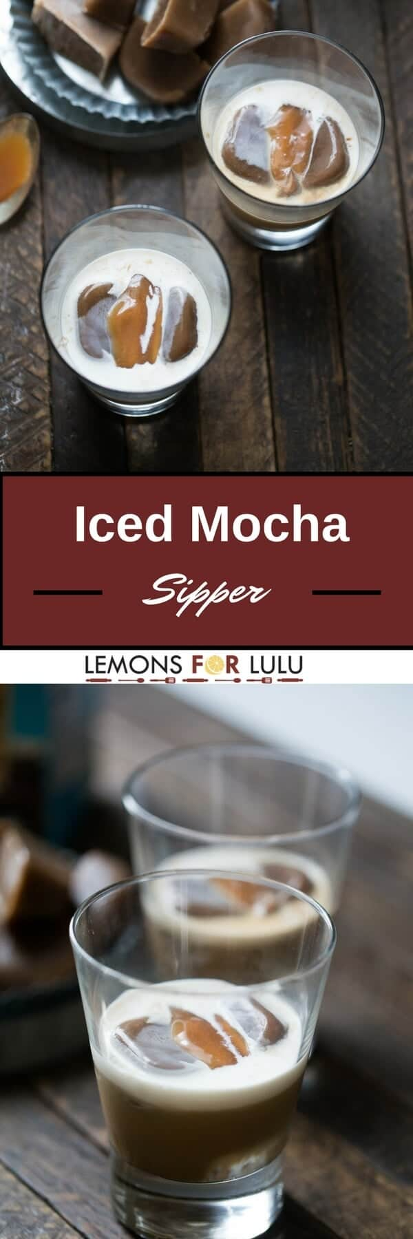 Iced mocha cubes are the key ingredient in this decadent cocktail!  Liqueur, vodka and caramel contribute in making this drink taste like dessert!