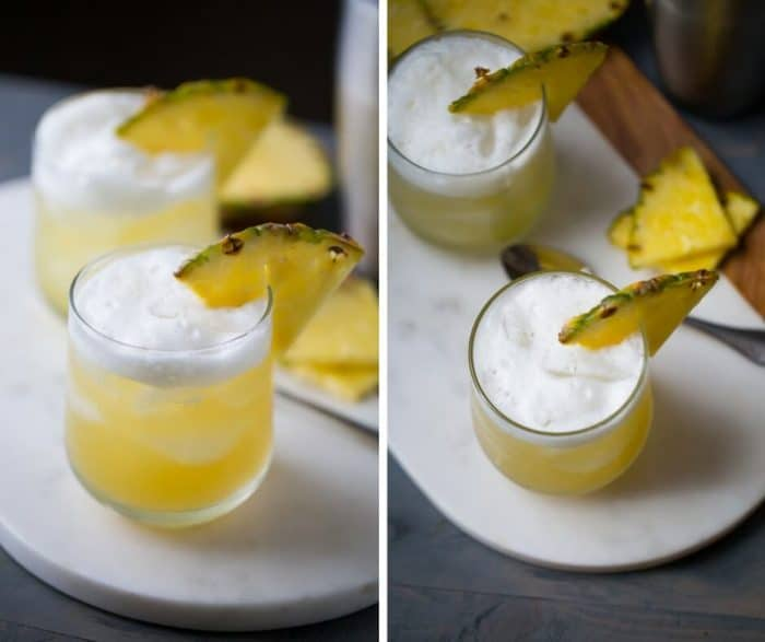 Bourbon is infused with hazelnut liqueur and sweet pineapple juice to make this Pineapple Bourbon Punch Cocktail. The combination of flavors is tropical and earthy all at once!