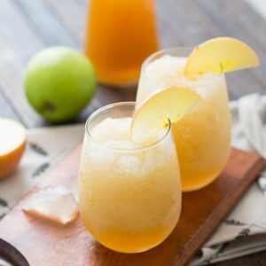 Wine slushies with a taste of fall! Apple cider and wine make one amazing cocktail!