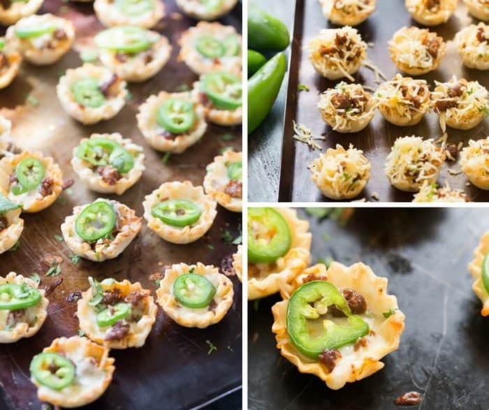 Simple queso funded bites will make your party! These cheesy two-bite snacks are made with a handful of ingredients and come together quickly!