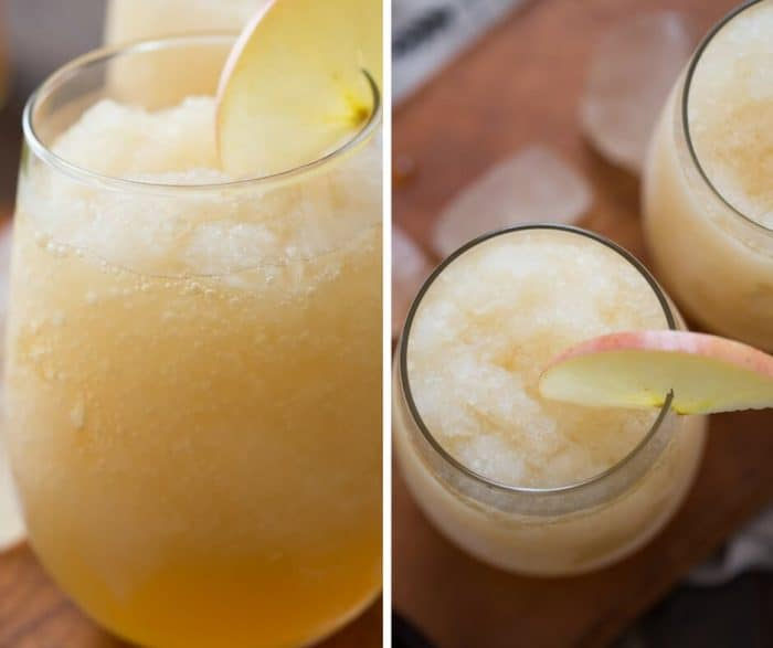 Wine slushies made with apple cider, white wine and liqueur!  Caramel apples never tasted so good!