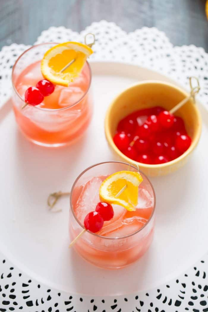 This bourbon Daisy is simple and fun.  Lemon juice and grenadine are mixed with bourbon to give you this flirty cocktail!
