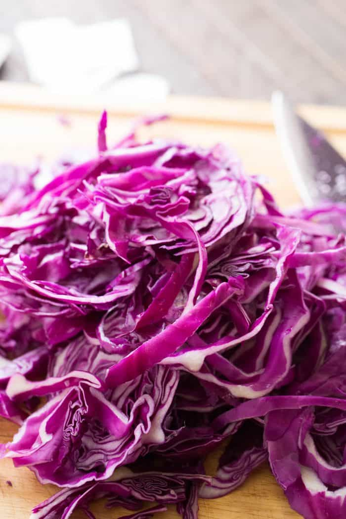 Red cabbage ready to be cooked