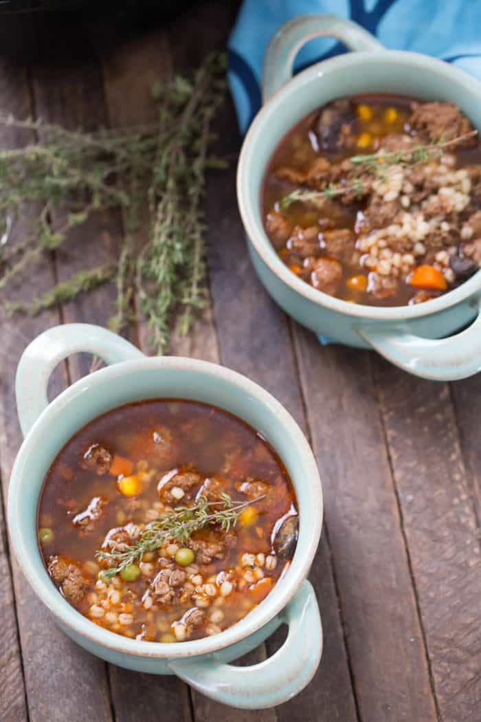 Grab you slow cooker, it's time to make soup! Nothing will warm you up quite like a bowl of beef and barley soup!