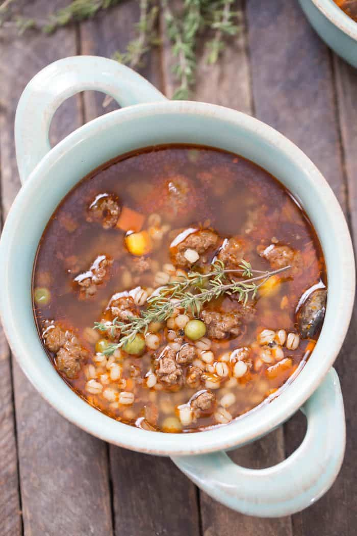 Want warm and cozy? Then you need a bowl of beef and barley soup!