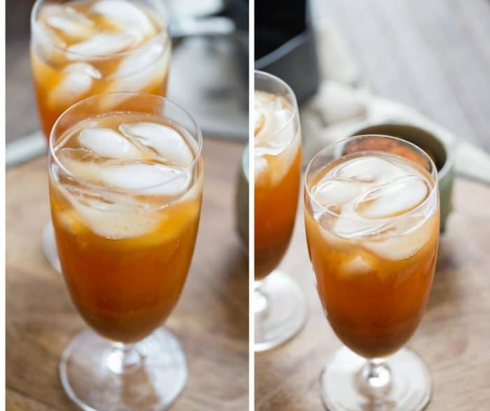 Enjoy a refreshing pumpkin spice iced tea; a cool twist on a classic flavor!